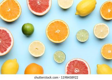 Citrus fruits on blue background