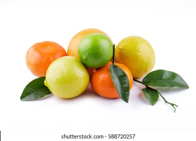 Citrus fruits with orange leaves isolated on white background.