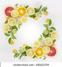 Citrus fruits ornament frame on white background.