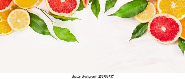 Citrus fruits slices with green leaves frame , banner for website