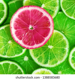 Citrus fruits slices pattern texture background with contrast pink color, limes flat lay
