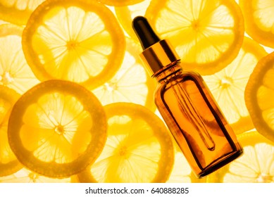 Citrus lemon essential oil, vitamin c serum, beauty care aroma therapy.