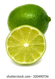 Citrus lime fruit slice isolated on white background