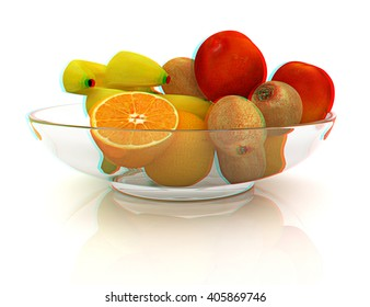 Citrus on a plate on a white background. 3D illustration. Anaglyph. View with red/cyan glasses to see in 3D.