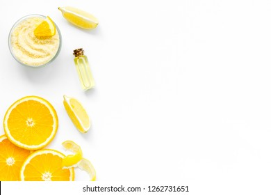 citrus orange cosmetic for natural spa bath on white table background top view mock up