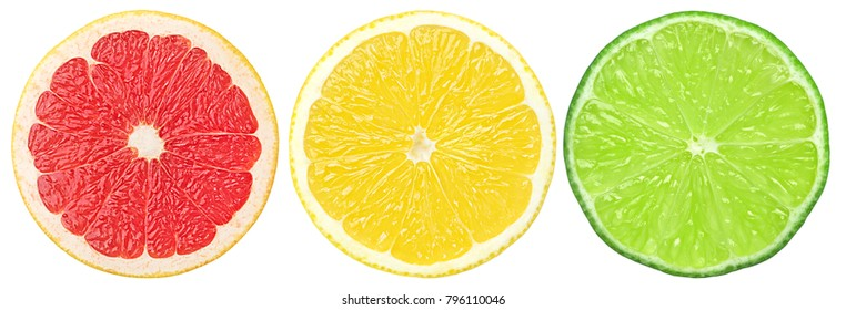 citrus slice, grapefruit, lemon, lime, isolated on white background, clipping path
