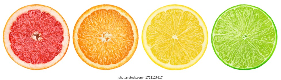 citrus slice, grapefruit, orange, lemon, lime, isolated on white background, clipping path - Shutterstock ID 1721129617