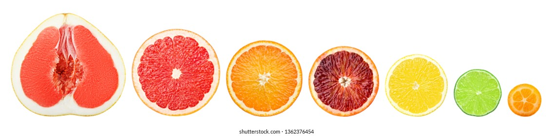 citrus slice isolated on white background, pomelo, grapefruit, orange, lemon, lime, kumquat, clipping path