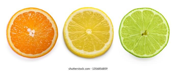 citrus slice, orange, lemon, lime, isolated on white background