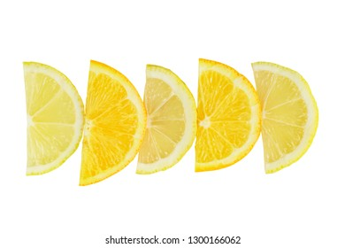 citrus slice, oranges and lemons halves isolated on white background, clipping path