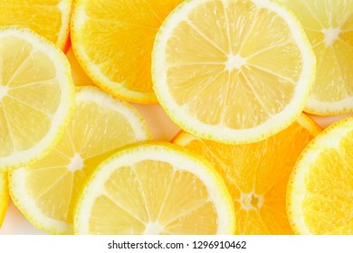 citrus slice, oranges and lemons on white background,