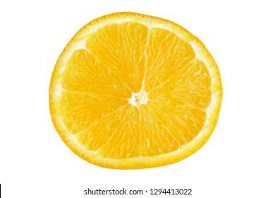 citrus slice, ripe orange isolated on white background