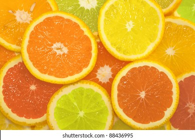 Citrus slice series in different colors, background