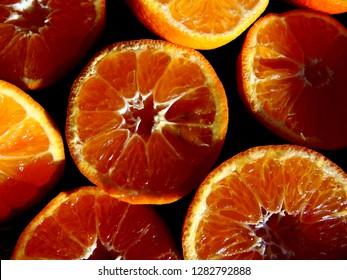 citrus slices close up