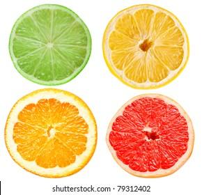 citrus slices isolated on white background