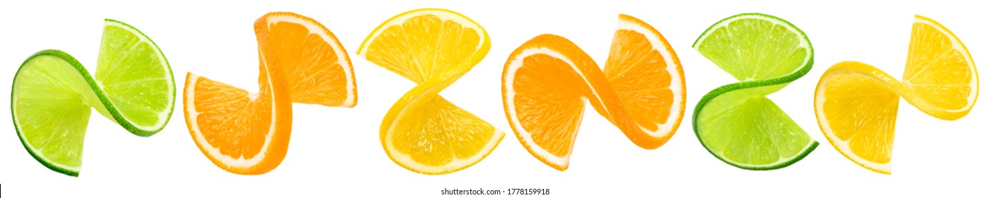 Citrus twists isolated on white background. Package design element with clipping path