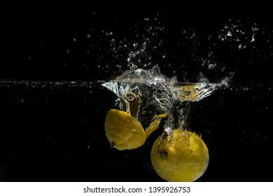 "Citrus, yellow fruit lemon ""Citrus limon"", falls into the water. Water splash, drops. Slow motion, black background."
