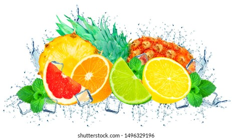 citruses splash water and ice and pineapple isolated on a white background