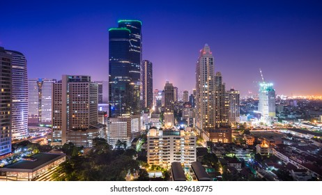 Citscape of Bangkok.Night View at satorn road Bangkok,Thailand.
