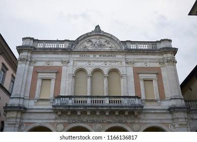 Citta di Castello, Italy - August 23, 2018 : Palazzo of Cassa di Risparmio