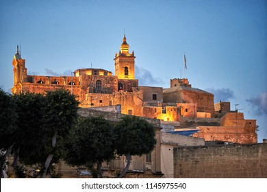 The Cittadella of Victoria after sunset at Gozo, Malta