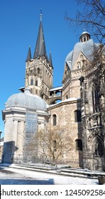 City of Aachen, Germany with Cathedral Aachener Dom on a snowy day in winter