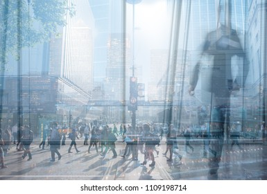 City abstract background - Multiple exposure of city commuters and city skyscrapers. Concept for management, corporate strategies, future cities, employment, digital transformation, business solutions