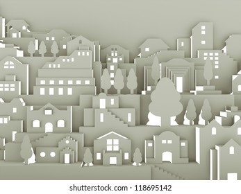 City abstract make with paper