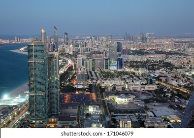 City of Abu Dhabi at dusk, United Arab Emirates