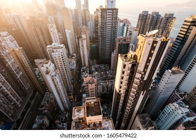 City aerial of HongKong, skyscraper in downtown Hong Kong