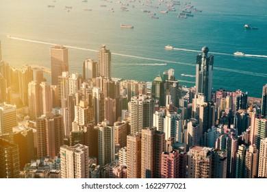 city aerial, skyscraper buildings of downtown HongKong