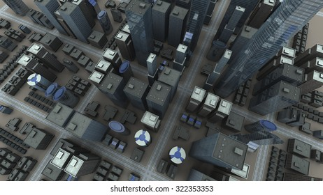 City aerial view. 3D rendering