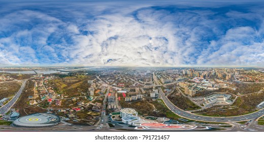 City from the air. Kiev. Ukraine. Residential quarters. High-rise building with a helipad. Full panorama 360 degrees in the equiangular equidistant spherical projection. Contents of VR
