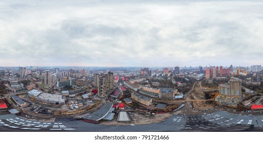 City from the air. Kiev. Ukraine. Residential quarters. Full panorama 360 degrees in the equiangular equidistant spherical projection. Contents of VR