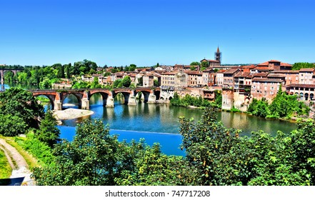 City of Albi and the River Tarn. Southern France.