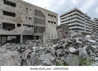 Stadt Aleppo und zerstörte Gebäude in Syrien 2019