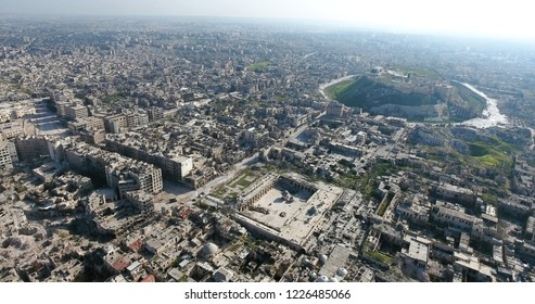 the city of Aleppo in Syria, aerial view
