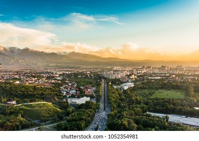 City of Almaty at sunset