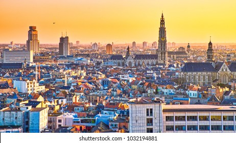 City of Antwerp at sunset. The buildings are capturing beautiful sunset light.