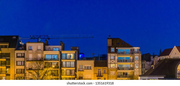 city apartments by night, Belgian architecture of Blankenberge, Belgium