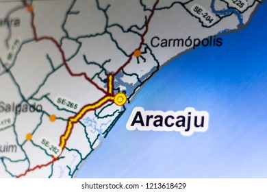 City of Aracaju, capital of Sergipe, Brazil (detail of a map)
