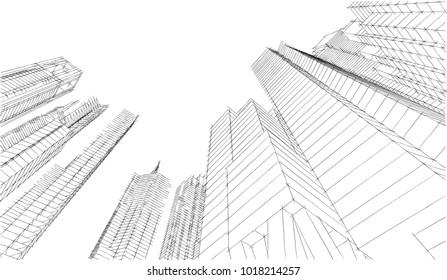 city architecture 3d illustration