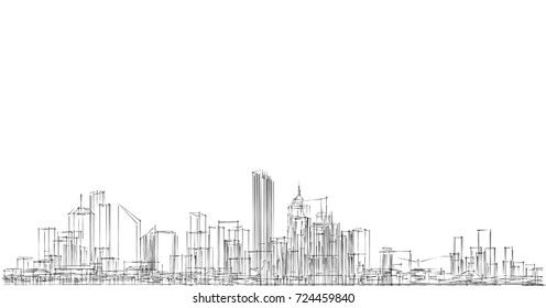 city, architecture abstract, panorama, background, texture, 3d illustration