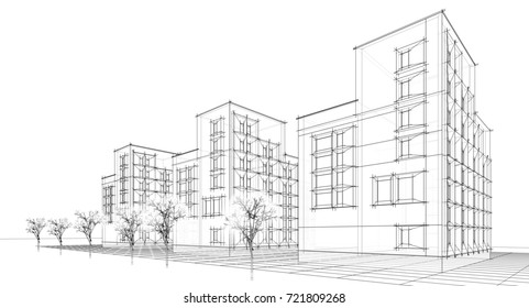 city, architecture abstract, sketch, 3d illustration