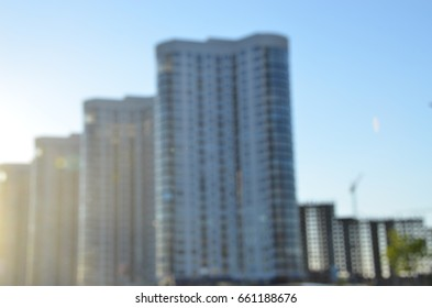 City architecture buildings. Blurred view