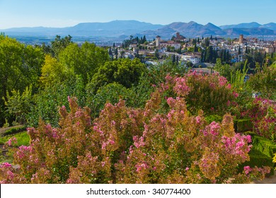 City architecture viewed from the Alhambra in Granada, Spain.