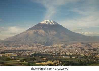 City of Arequipa, Peru with its iconic volcano Misti in the background