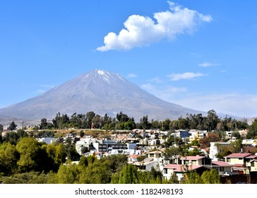 City of Arequipa with volcano Misti in background. Peru. Arequipa- second most populous city in Peru, capital of Arequipa Region and major tourist destination in south Peru. Photo taken 2018-08-29.