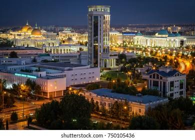 City of Ashgabat After Sunset
