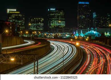 city, atlanta, downtown, night shot, light trail